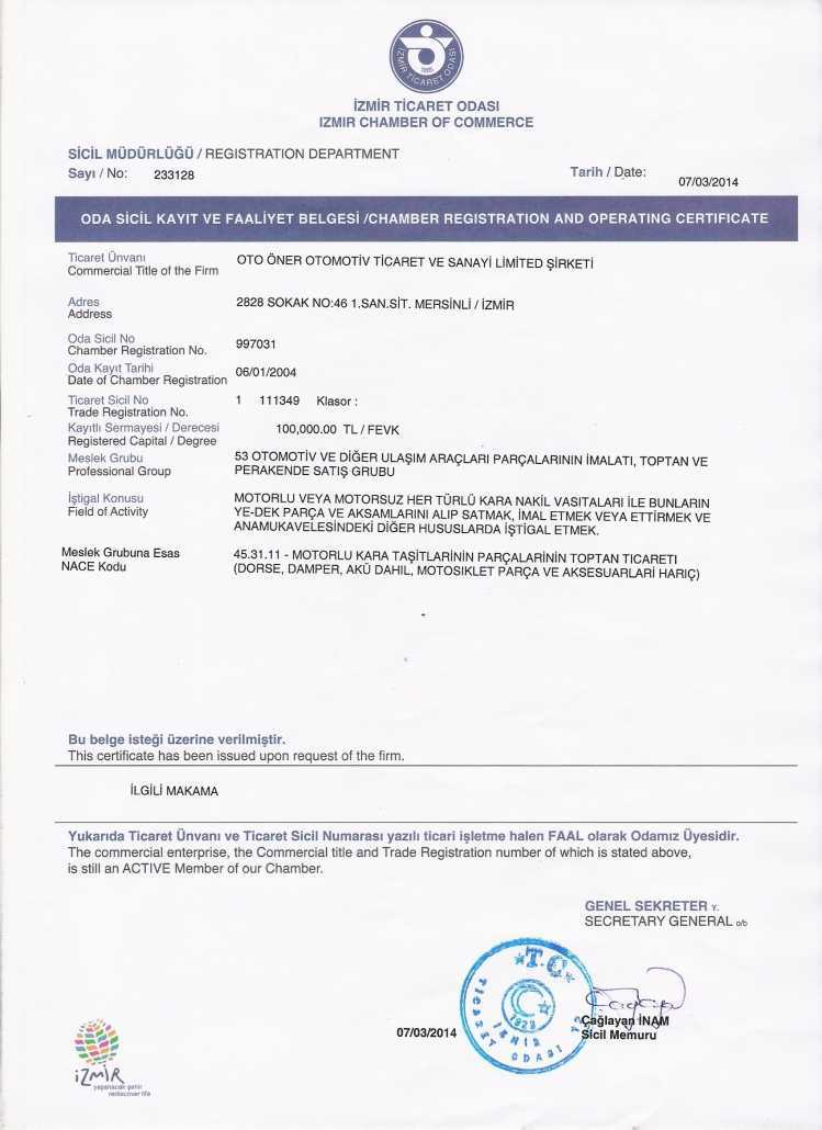 Operation Certificate